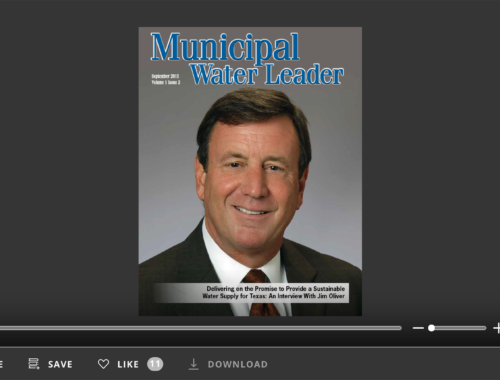 Screenshot of flipbook PDF reader for Municipal Water Leader September 2015. Volume 1 Issue 2.