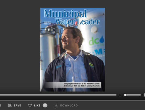Screenshot of flipbook PDF reader for Municipal Water Leader October 2015. Volume 1 Issue 3.