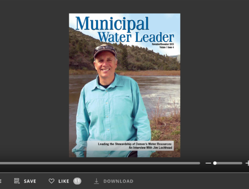 Screenshot of flipbook PDF reader for Municipal Water Leader November/December 2015. Volume 1 Issue 4.
