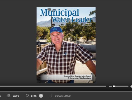 Screenshot of flipbook PDF reader for Municipal Water Leader January 2016. Volume 2 Issue 1.