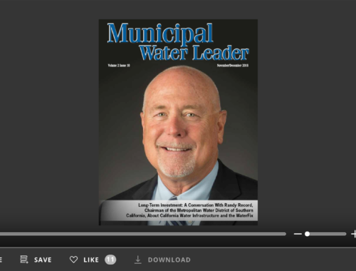 Screenshot of flipbook PDF reader for Municipal Water Leader November/December 2016. Volume 2 Issue 10.
