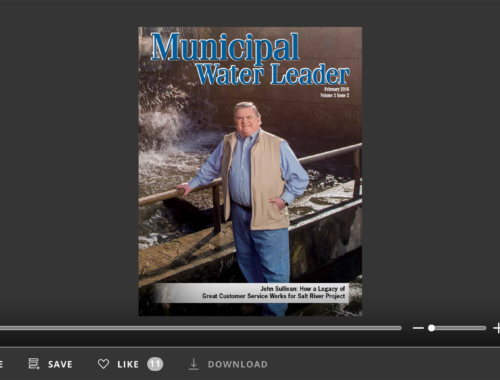 Screenshot of flipbook PDF reader for Municipal Water Leader February 2016. Volume 2 Issue 2.