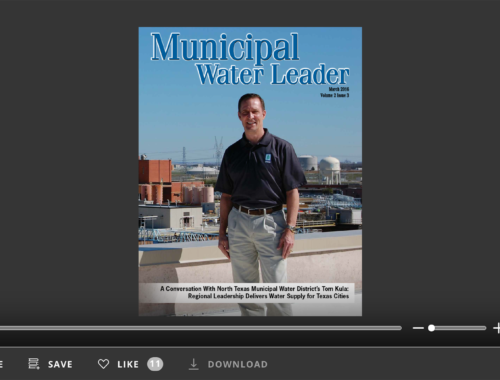 Screenshot of flipbook PDF reader for Municipal Water Leader March 2016. Volume 2 Issue 3.