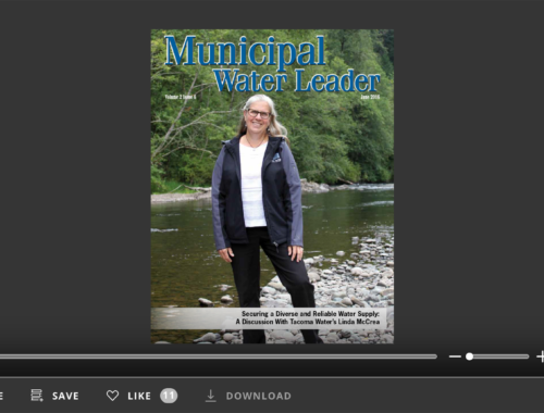 Screenshot of flipbook PDF reader for Municipal Water Leader June 2016. Volume 2 Issue 6.