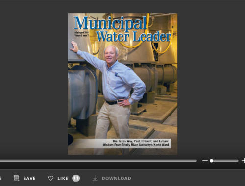 Screenshot of flipbook PDF reader for Municipal Water Leader July/August 2016. Volume 2 Issue 7.