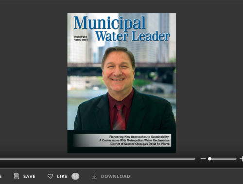 Screenshot of flipbook PDF reader for Municipal Water Leader September 2016. Volume 2 Issue 8.