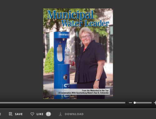 Screenshot of flipbook PDF reader for Municipal Water Leader October 2016. Volume 2 Issue 9.