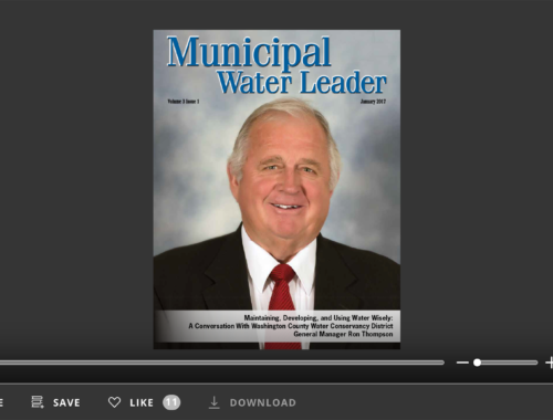 Screenshot of flipbook PDF reader for Municipal Water Leader January 2017. Volume 3 Issue 1.