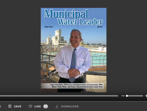 Screenshot of flipbook PDF reader for Municipal Water Leader April 2017. Volume 3 Issue 4.