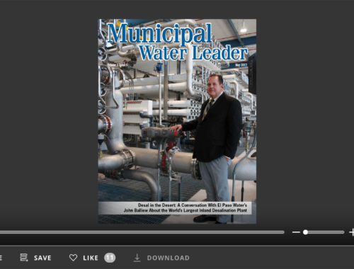 Screenshot of flipbook PDF reader for Municipal Water Leader May 2017. Volume 3 Issue 5.