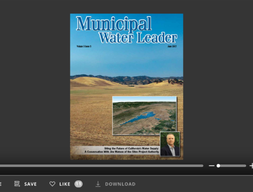Screenshot of flipbook PDF reader for Municipal Water Leader June 2017. Volume 3 Issue 6.