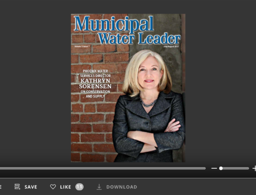 Screenshot of flipbook PDF reader for Municipal Water Leader July/August 2017. Volume 3 Issue 7.