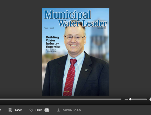 Screenshot of flipbook PDF reader for Municipal Water Leader September 2017. Volume 3 Issue 8.