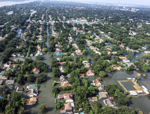 Aerial photo of flooding in a Texas suburb cause by Hurricane Harvey