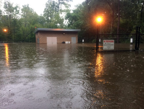 Photo of Hurricane Harvey flooding in The Woodlands Division of San Jacinto River Authority