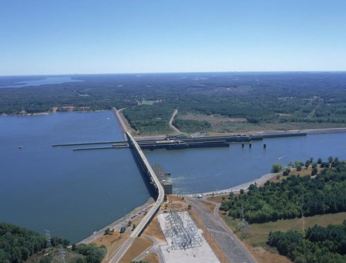 Aerial photo of Pickwick Dam