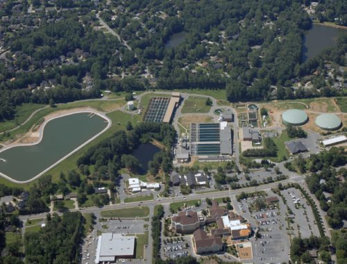 Aerial photo of the James E. Quarles Water Treatment Plant