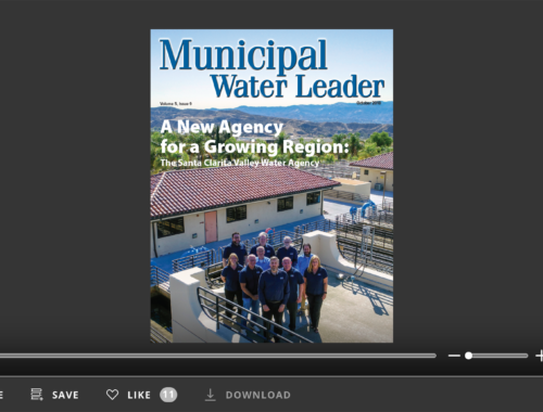 Screenshot of flipbook PDF reader for Municipal Water Leader October 2018. Volume 4 Issue 9.