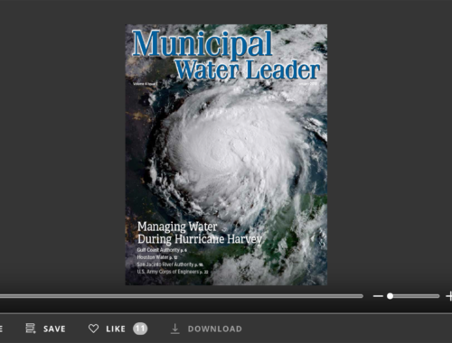 Screenshot of flipbook PDF reader for Municipal Water Leader January 2018. Volume 4 Issue 1.