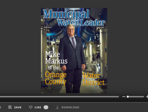 Screenshot of flipbook PDF reader for Municipal Water Leader February 2018. Volume 4 Issue 2.
