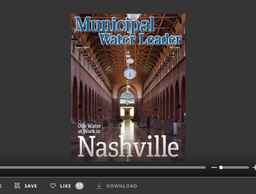 Screenshot of flipbook PDF reader for Municipal Water Leader March 2018. Volume 4 Issue 3.