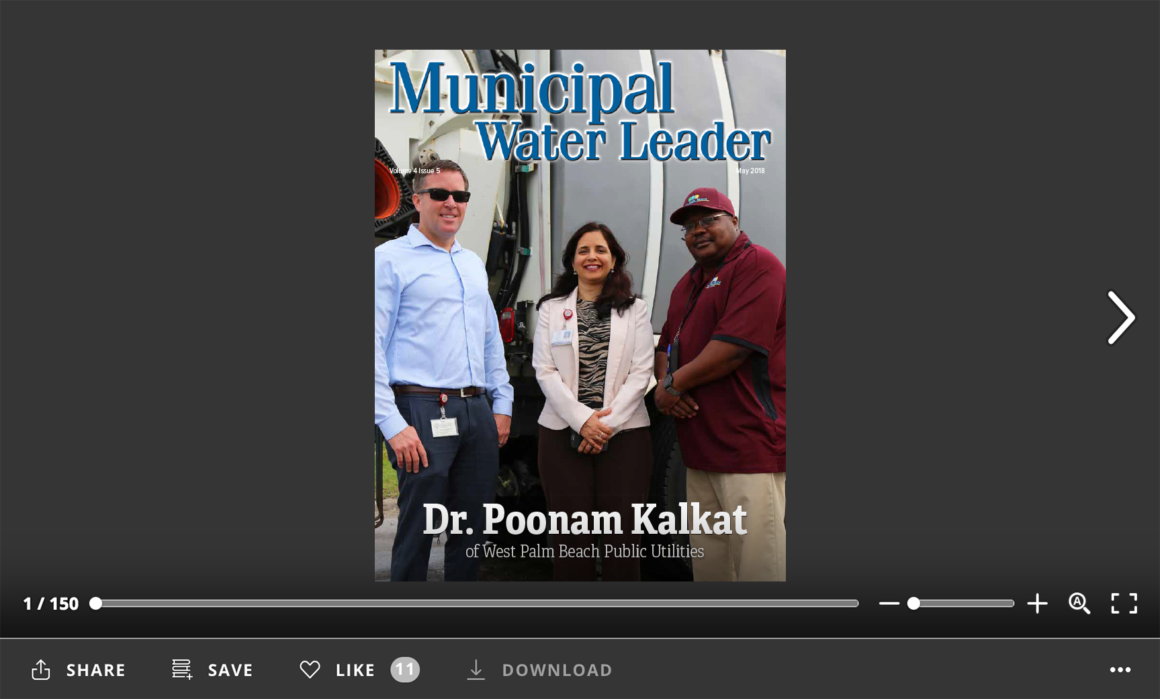 Screenshot of flipbook PDF reader for Municipal Water Leader May 2018. Volume 4 Issue 5.
