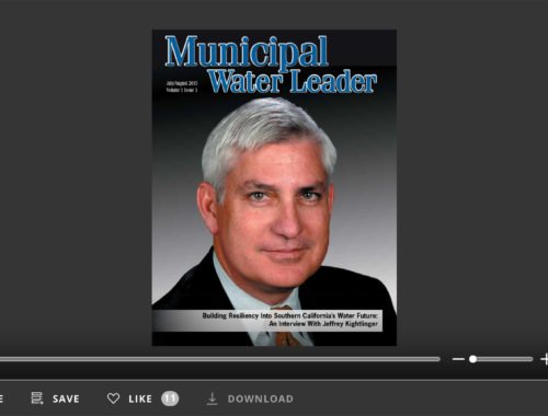 Screenshot of flipbook PDF reader for Municipal Water Leader July/August 2015. Volume 1 Issue 1.