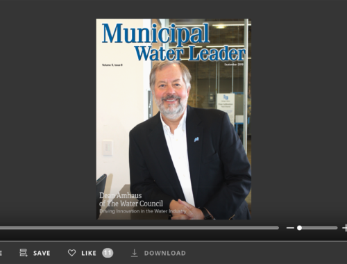 Screenshot of flipbook PDF reader for Municipal Water Leader September 2018. Volume 4 Issue 8.